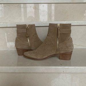 ZARA tan suede studded booties-similar to Chloe's